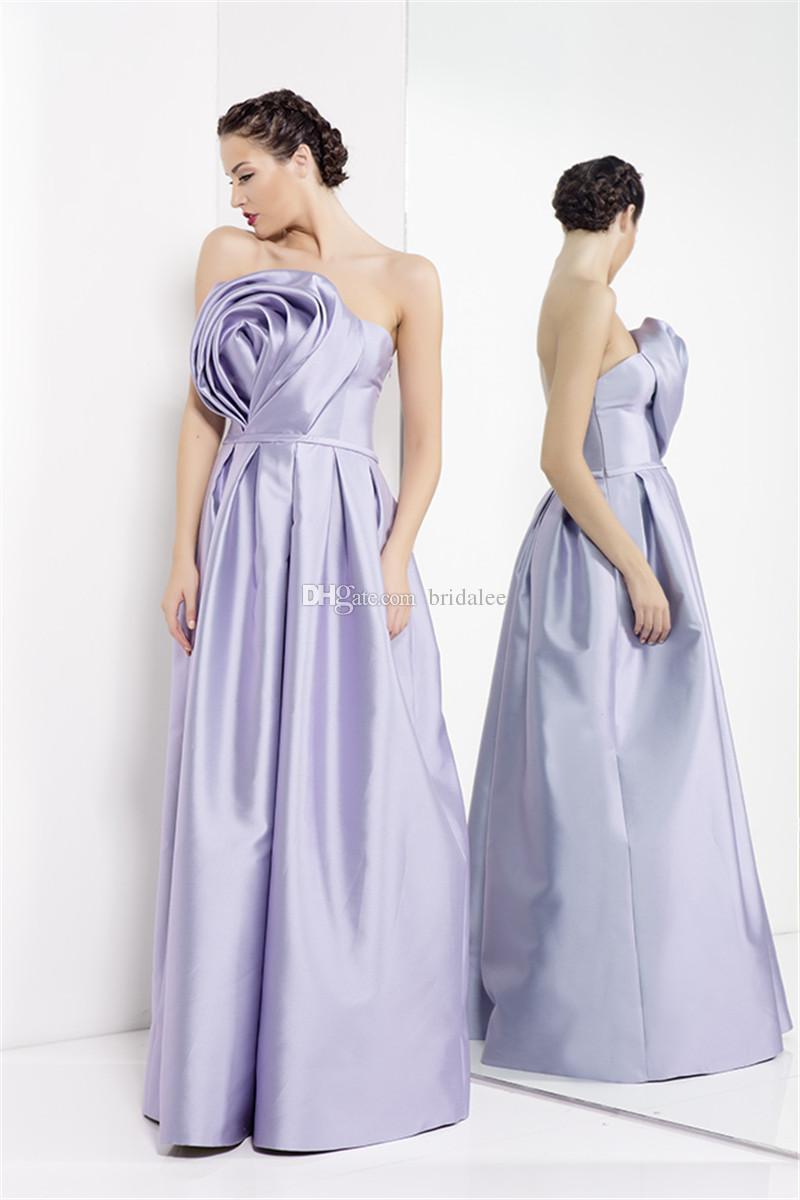 Simple Lavender Long Evening Dresses A Line Strapless Flower ...
