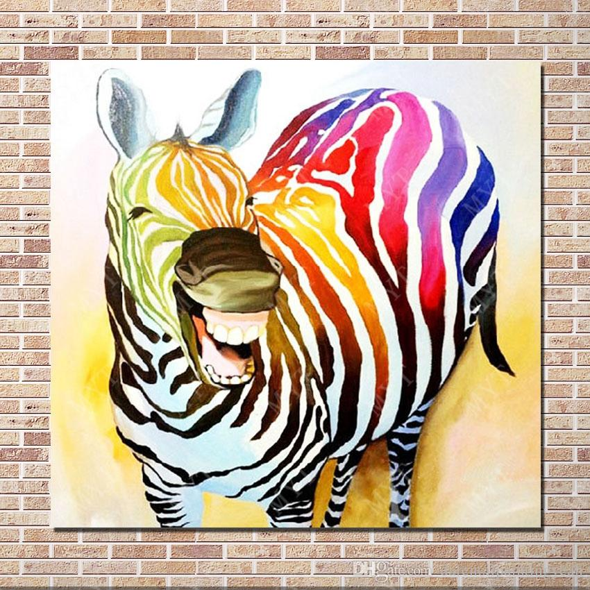 1pe 손-화포 동물성 유화 현대 화포 벽 예술 거실 장식 그림에 의하여 하는 미소 얼룩말 유화