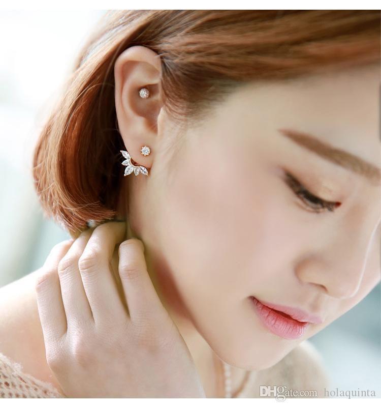 جديد الزركون كريستال الأذن الكفة كليب ليف أقراط للنساء سترة ثقب الأقراط الجميلة مجوهرات brincos