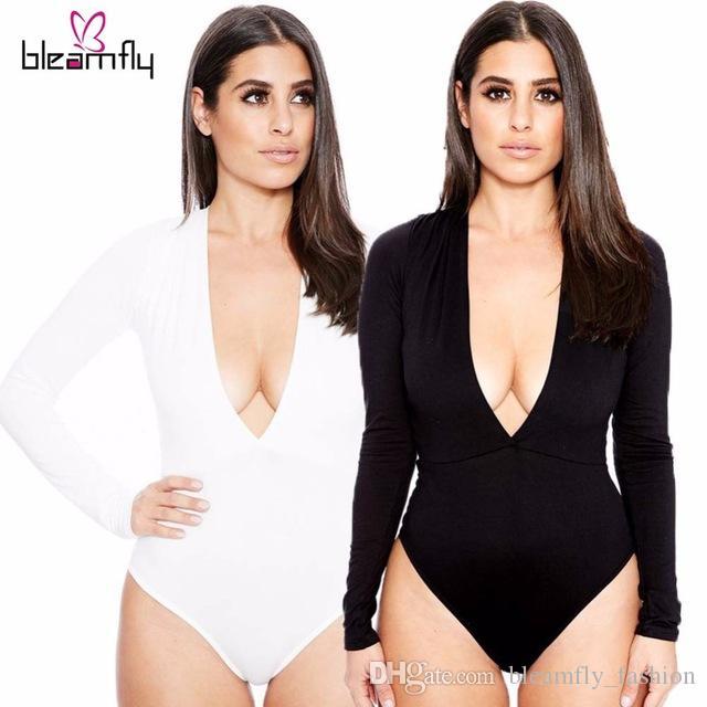 Siyah Yeni Seksi Kadınlar Bodysuit Derin V Boyun uzun kollu Tek Parça Bandaj Tulum Tulum Plaj Mayolar Bodysuits