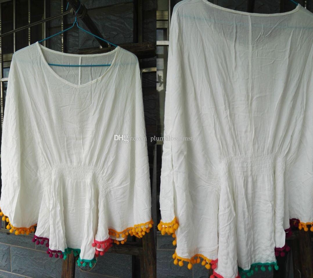 Beach bikini cover ups Colorful tassel pleated blouses summer women cotton big loose sunscreen swimwear shirt seaside holiday beachwear tops