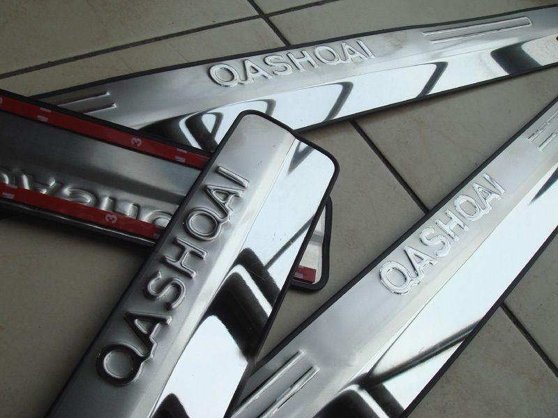 Für 2007-2013 2014 2015 qashqai edelstahl türsschweller schaufen platte willkommen pedalschwelle streifen auto styling zubehör 4 stücke