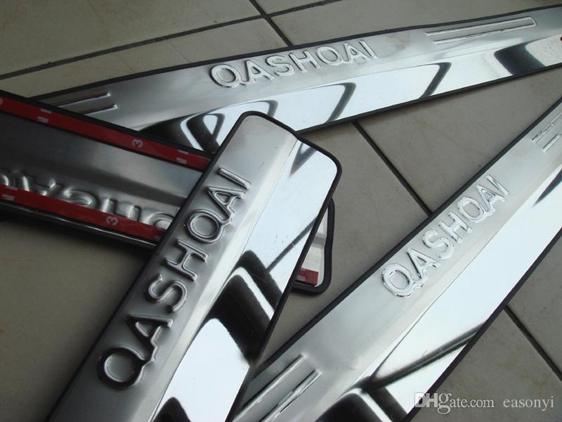 Para 2007-2013 2014 2015 qashqai porta de aço inoxidável peitoril penteadeira placa de scuff bem-vindo threashold tira de estilos de carro