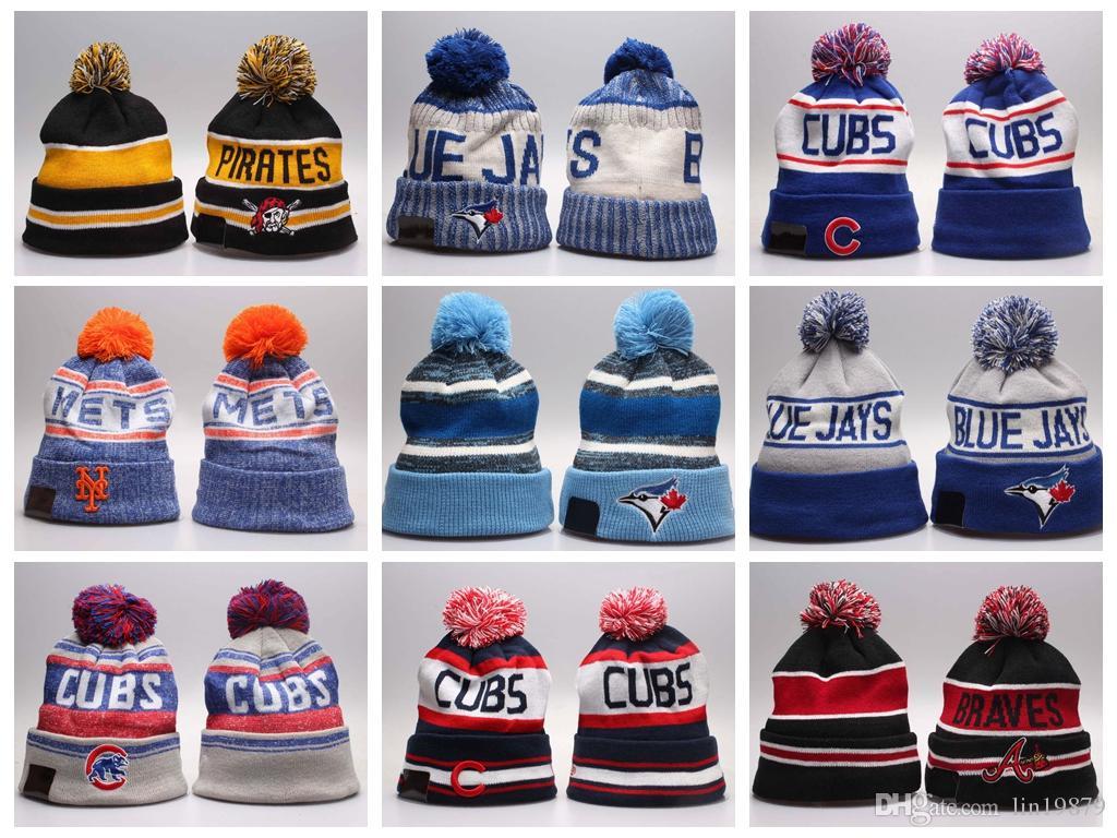 8ade97c9b44e2 2018 Wholesale Hot Winter Fashion Men Beanie Women Knitted Hat Casual Sport  Team Cap Keep Warm Ski Gorro Top Quality Blue Jays Skull Caps Beany  Wholesale ...