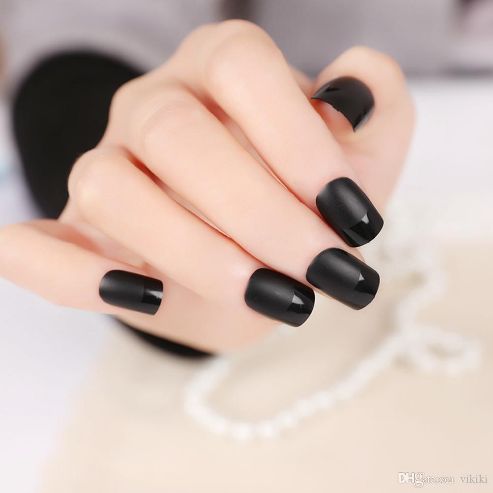 / set élégant français faux ongles faux design court couverture complète art faux ongles pour femme fille dame noir