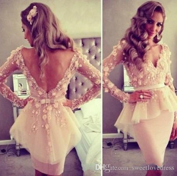 2017 sexy deep v-neck Backless Long Sleeves graduation dress sheath knee -length Prom Dresses hand flower plum Short Cocktail Dresses