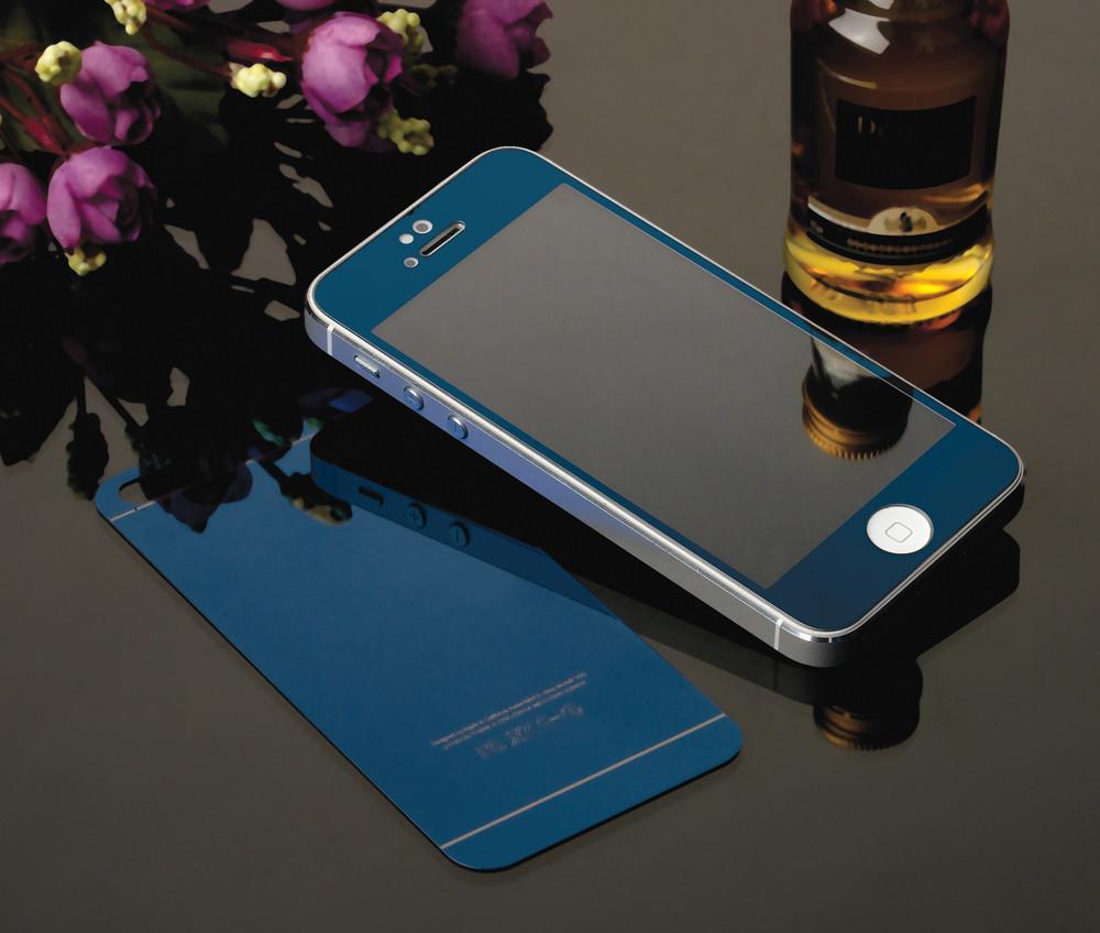Metal chapeamento de vidro Frente + Voltar Espelho Efeito de Cor caixa de filme de proteção para iphone 4s 5 5s 6 6 s além de protetor de tela de cobertura total