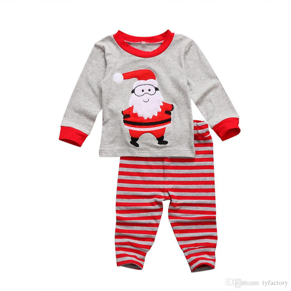 9b823aa888 2019 Kid Christmas Baby Boy Girl Clothing Set Santa Tops + Striped Pants  Red Gray Cute Pajamas Cotton Kids Clothes Outfits XMAS Presents From  Tyfactory