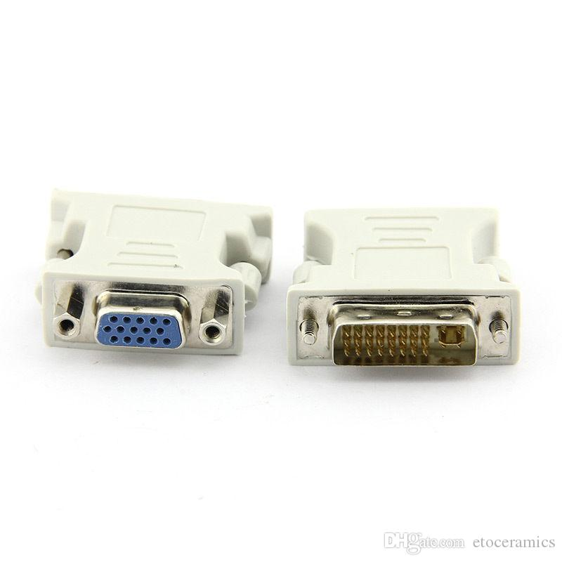 DVI 24 + 1 MANNELIJKE NAAR VGA Female Adapter Adapter DVI-D DVI-I DVI-A DVI -D Male naar VGA Vrouwelijke Adapters Connectors Converters Metalen Schroeven