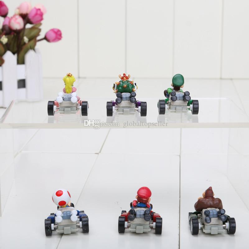 """Super Mario Bros 2.4"""" Kart PULL BACK Car Figures Kart version of the back car portfolio Figures"""