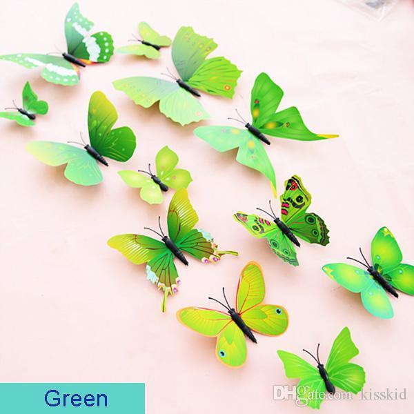DIY 3D Papillon Stickers Muraux Art Design Decals Room Decor Décor À La Maison = 12 pièces
