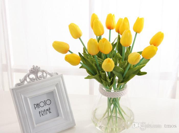 Latex Tulipes Artificielle PU Bouquet De Fleurs Real touch fleurs Pour la décoration de la maison De Mariage Décoratif Fleurs 11 Couleurs Option