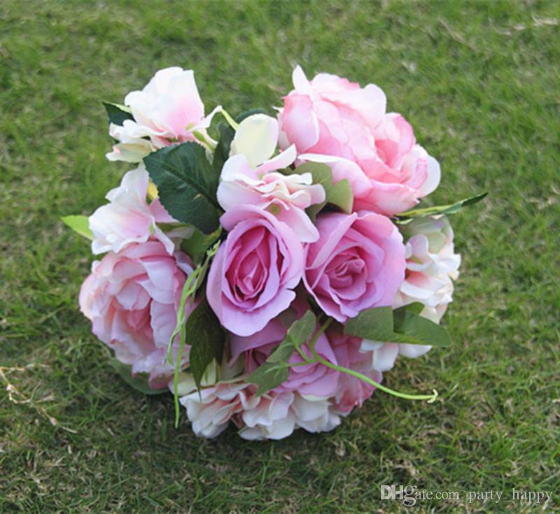 2016 Hot Sale Summer Beach Wedding Supplies Bridal Bouquets Hand Tied Flower Charming Top Quality Bouquet Accessories Garlands Flower