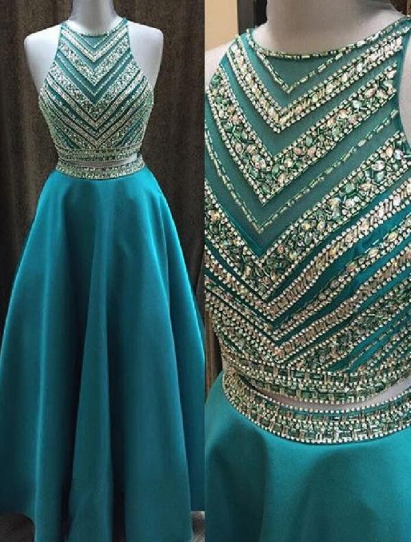 Superbe Perles Deux Pièces Robe Illusion Corsage Robes De Bal Longue Une Ligne Sheer Jewel Cou Sans Manches Hunter Soirée Robes De Soirée