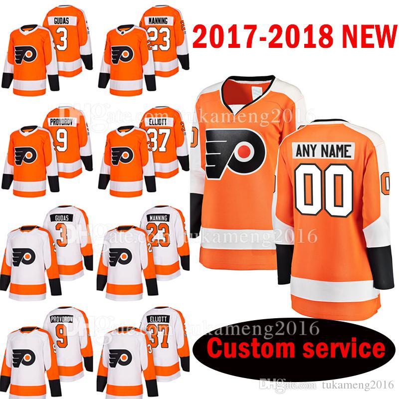detailed look 9c7a1 32bb9 Custom 2017-2018 New Philadelphia Flyers 123 Brandon Manning 3 Radko Gudas  Jersey 9 Ivan Provorov 37 Brian Elliott Hockey Jerseys