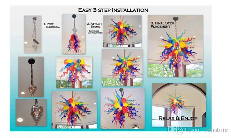 Escalera colorido Murano Glass Chandelier Mini Blown Glass Mejor Sala de estar Colores delicados Iluminación colgante contemporánea