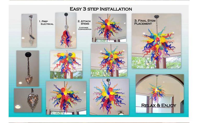 Fantasia Luz Decoração amarelo limão Use Chandelier Led Light Source Modern mão soprado lustres de vidro
