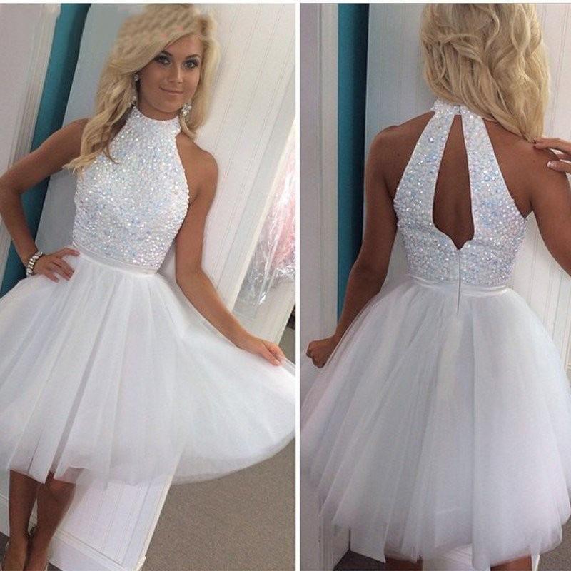 2019 sexy nuevos vestidos de fiesta de tul blanco mini vestidos de halter con cristales superiores huecos una línea de vestidos de cóctel cortos