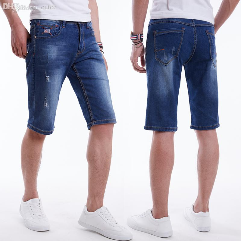 15702a35d43 2019 Wholesale Drizzte Mens Plus Size High Stretch Lightweight Blue Denim  Jeans Shorts For Men Ripped Jean Pants 30 To 36 38 40 42 44 46 48 From  Cutee