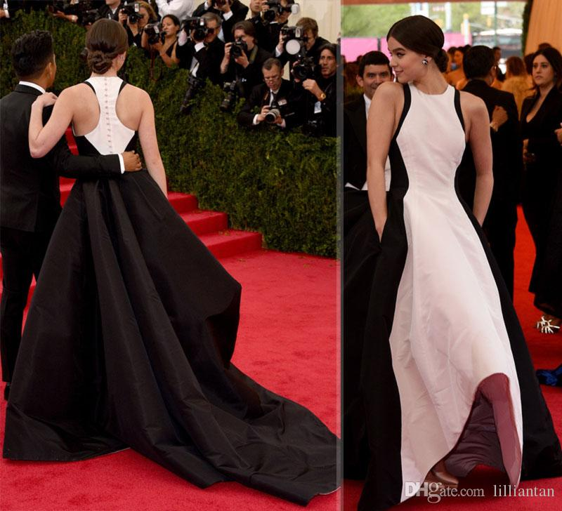 Abito da sera nero e bianco da ballo di design Vestito da tappeto rosso Gioiello con colori contrastanti Abiti da festa celebrità