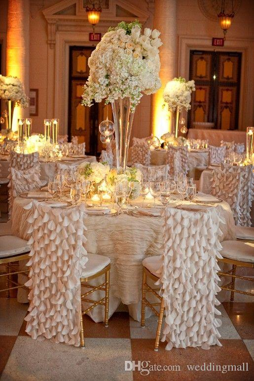 2018 classic chiffon floral wedding chair sashes cheap for Table and chair decorations for weddings