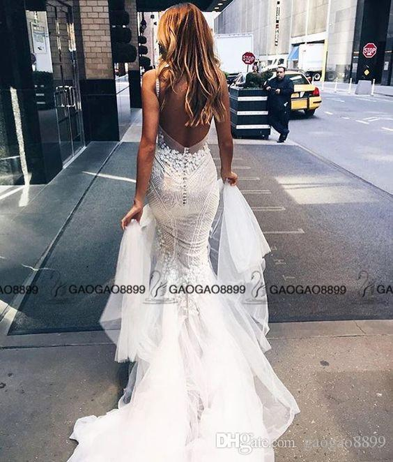 Pallas Couture 2017 Lace Floral Long Train Mermaid Beach Wedding Dresses Custom Make V-neck Full length Fishtail Bridal Wedding Gown