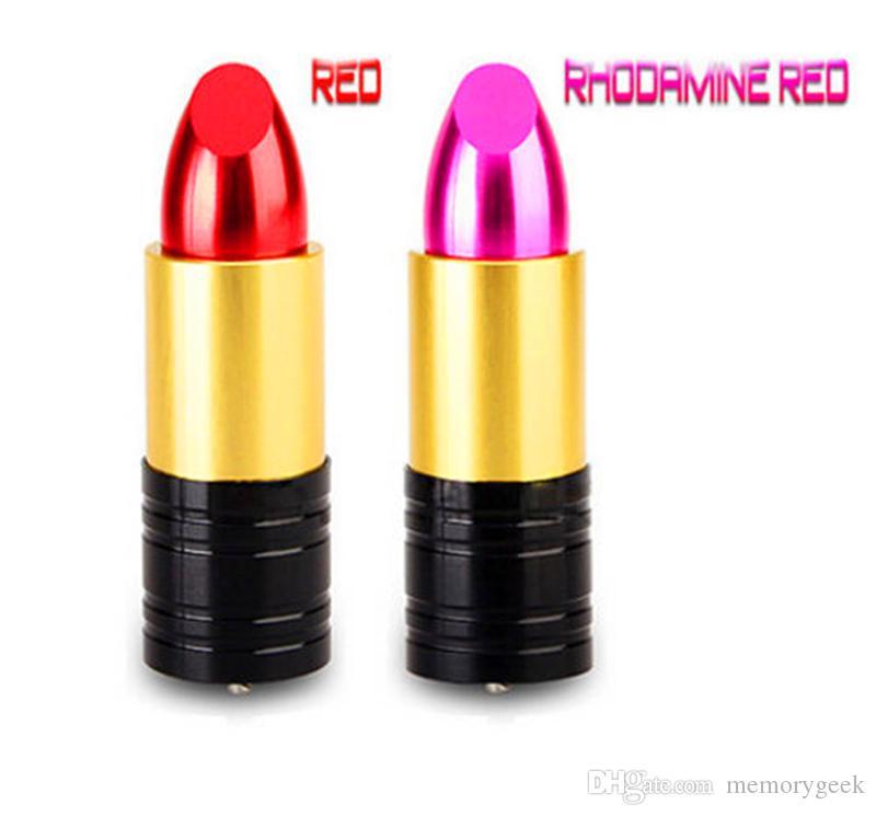 Новый красивый дизайн красные помады модель 32GB 64GB подлинная емкость металлический подарок USB 2.0 Memory Stick Flash U диск 32 ГБ 64 ГБ 128 ГБ 256 ГБ