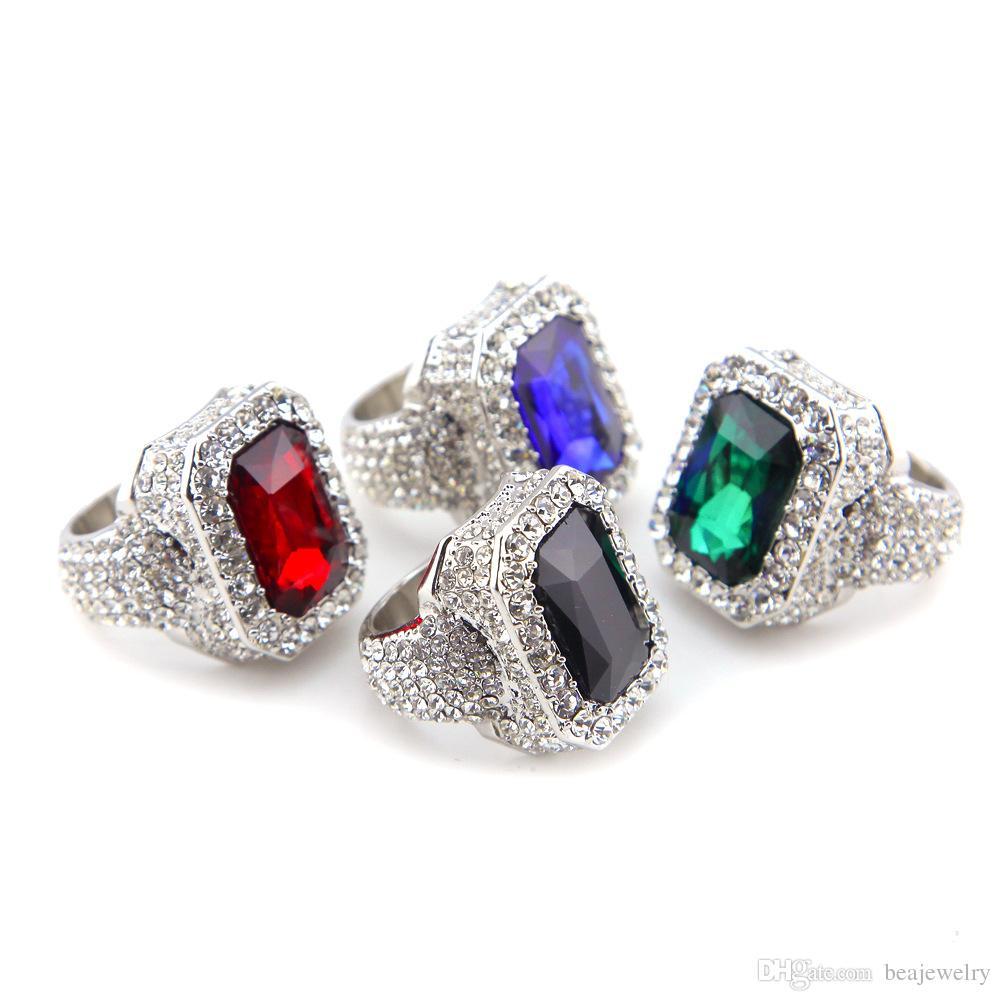 Новые Мужчины Красный Синий Черный Зеленый Рубиновый Хип-Хоп Мужское Кольцо Известный Бренд Iced Out Micro Pave Cz Ring