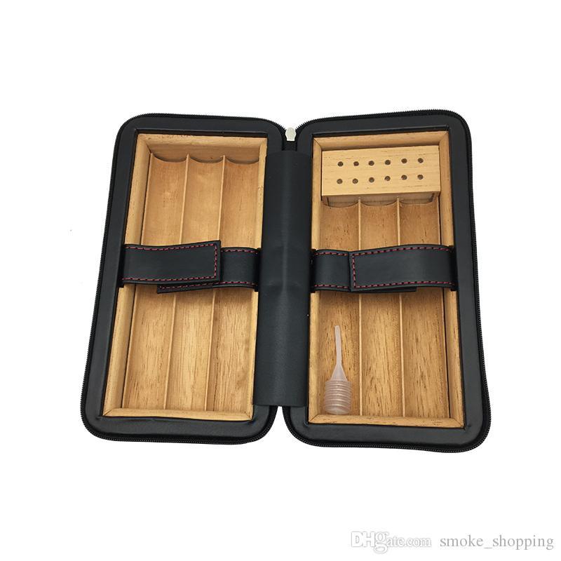 Gadgets de cigarros de productos nuevos Gadgets de cigarros de cuero negro de grano de cocodrilo puede contener 6 Precio al por mayor de cigarrillos