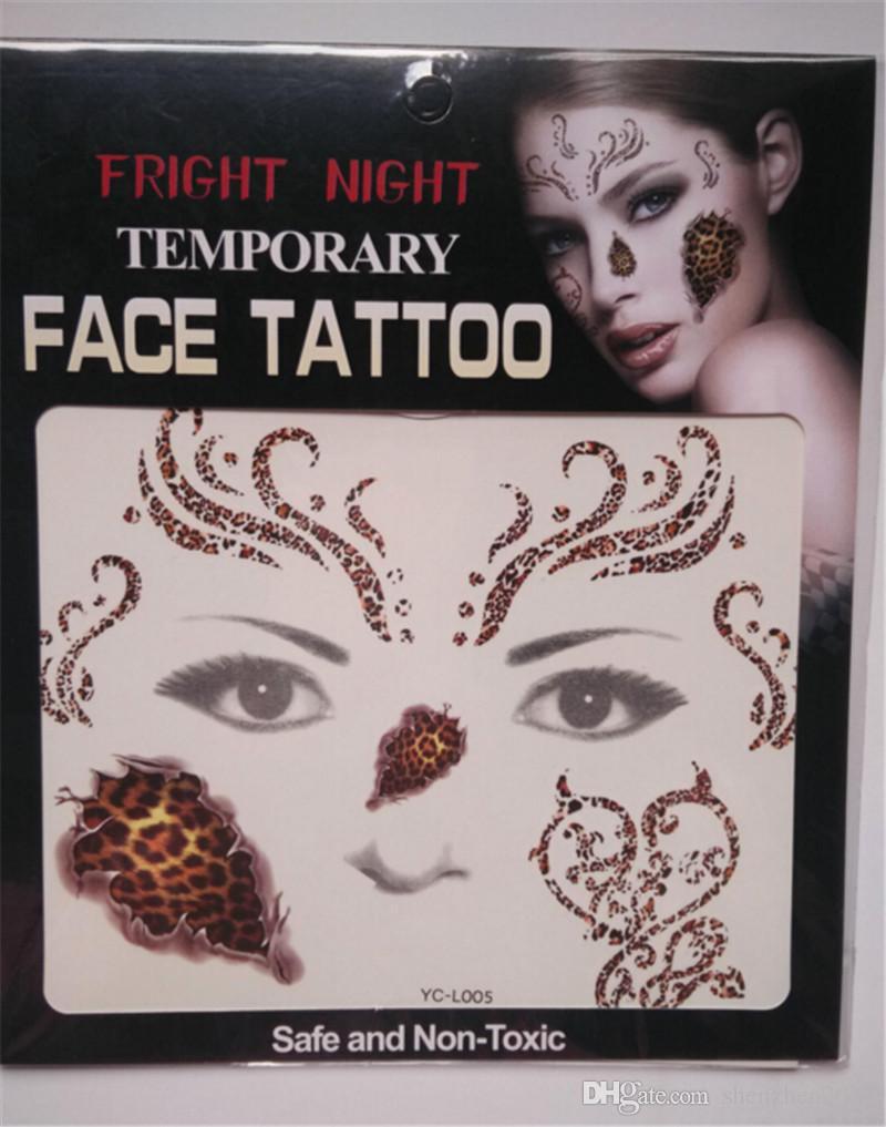 2017 NOUVEAU Fright Night Temporaire Visage Tatouage Body Art Transfert de Chaîne Tatouages Temporaire Autocollants en stock 9 Styles