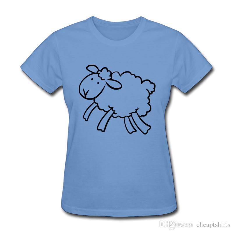 ff42082c778d81 Großhandel T Shirt Des Schafprint T Shirts Süße Mädchen Sommer Dünnes T  Stücke Hellblauer Rundhalsausschnitt T Shirt Einfacher Linie Zeichnender  Tierentwurf ...
