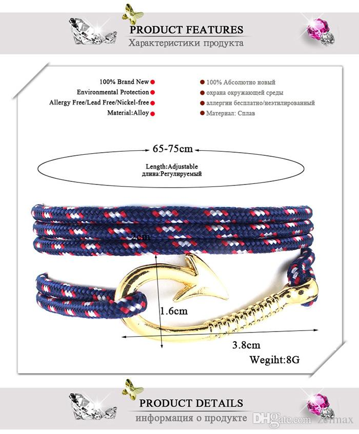 Fish hook Fashion pirate nautical navy anchor bracelet small fragrant wind woven simple bracelet DHL