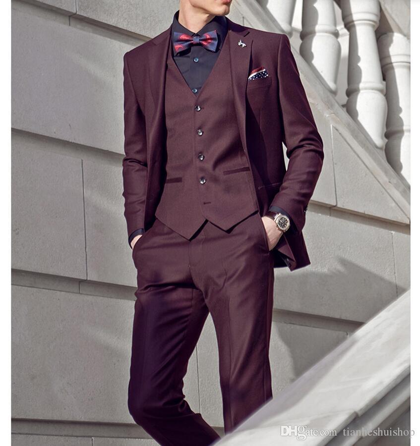 Summer Hot Style Men\'s Suit Handsome Wine Red Suit Wedding Groom ...