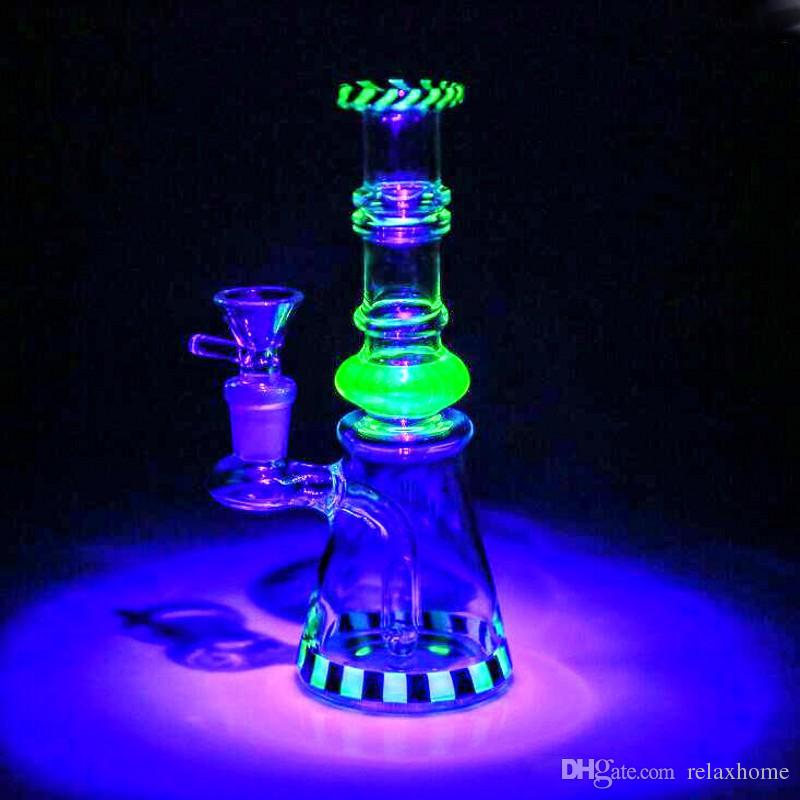Thick Glass Bongs Twin Percs With Herb Bowl Oil Rigs Water Smoking Pipes Straight High Quality Glass Bongs