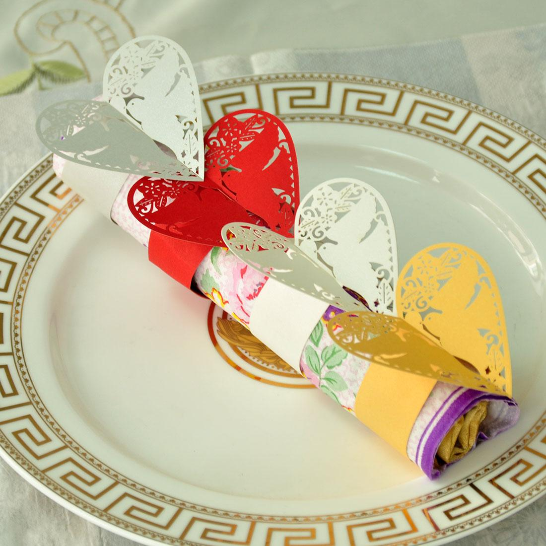 Pearl Paper Home Decor Stock Product India Napkin Rings: Laser Cut Hollow Pigeon Shaped Paper Napkin Rings Wraps