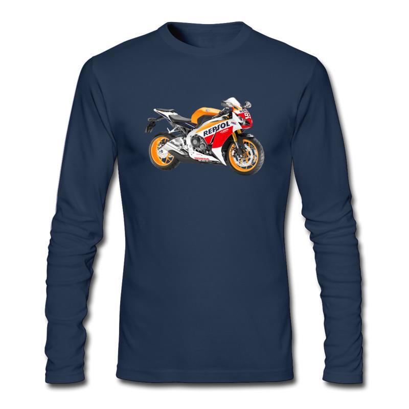 Maglietta a maniche lunghe da uomo, alta qualità, pacco postale, semplice moda, t-shirt S / M / L e honda repsol, moto stampata