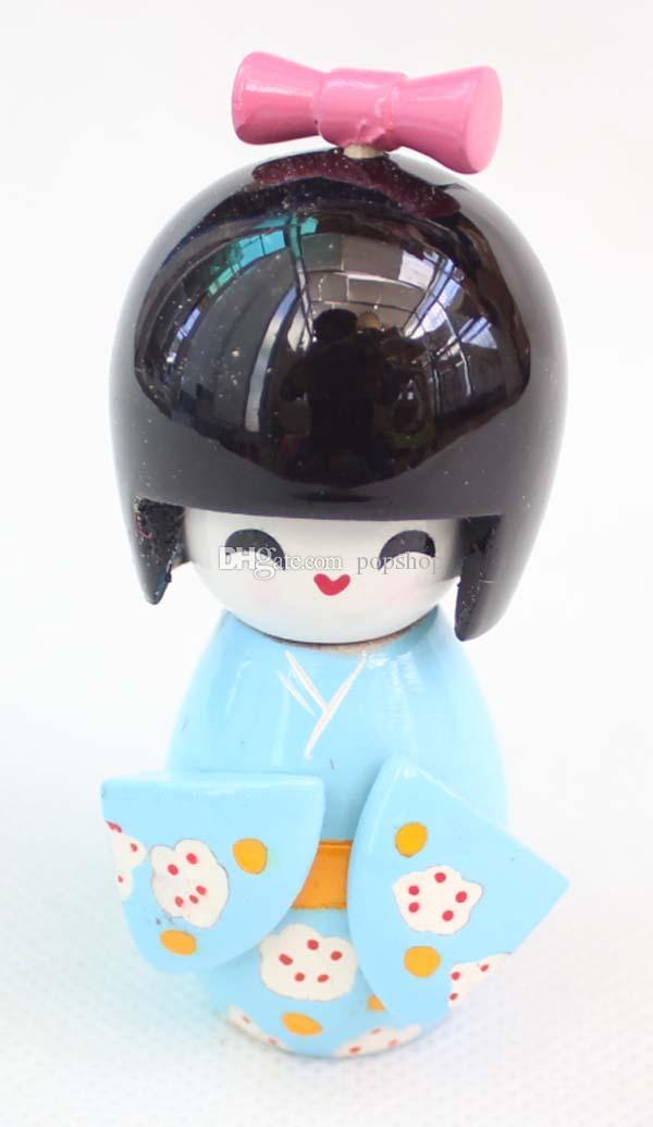 three szie 9 cm CUTE 수집품 일본 나무 인형 KOKESHI있는 KIMONO Figure, 인형 소녀 키즈 선물