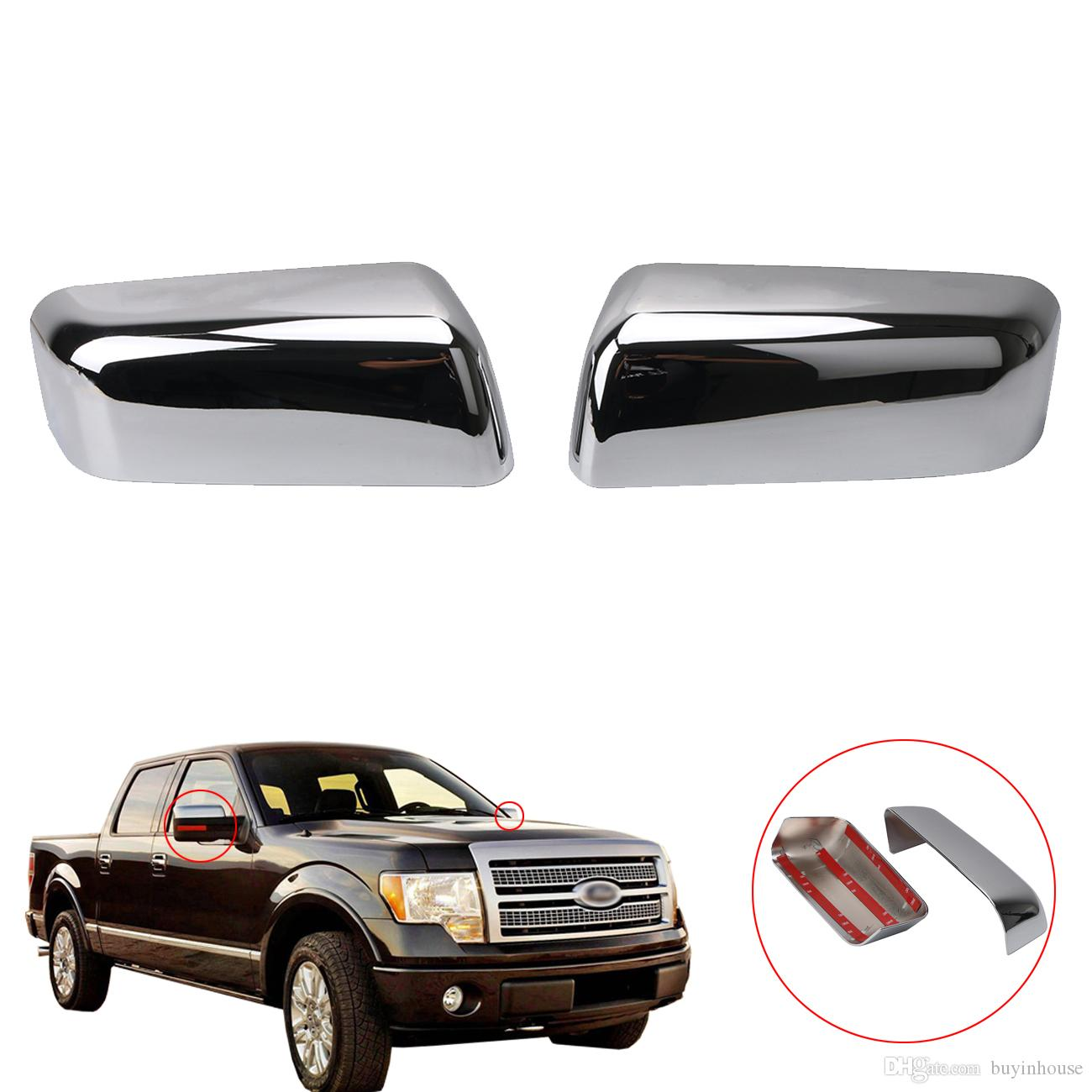 Triple Chrome Plated Abs Top Half Mirror Cap Cover Overlays For Ford F  Truck Xlt Fx Rc From Buyinhouse   Dhgate Com