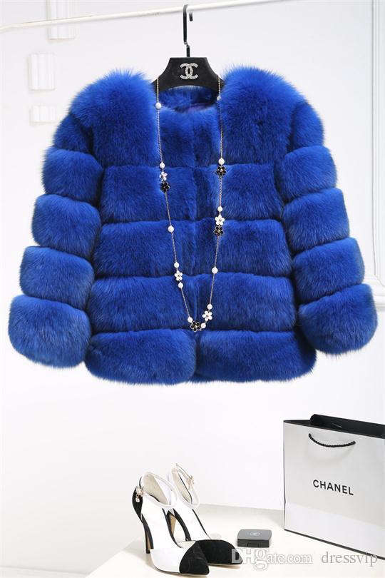 Rosa Inverno Casaco De Pele De Raposa Casaco Petite Peacoat Outwear De Pele Das Senhoras Em Torno Do Pescoço Manga Comprida Casacos Parka Trench Coats Curto Outwear Quente