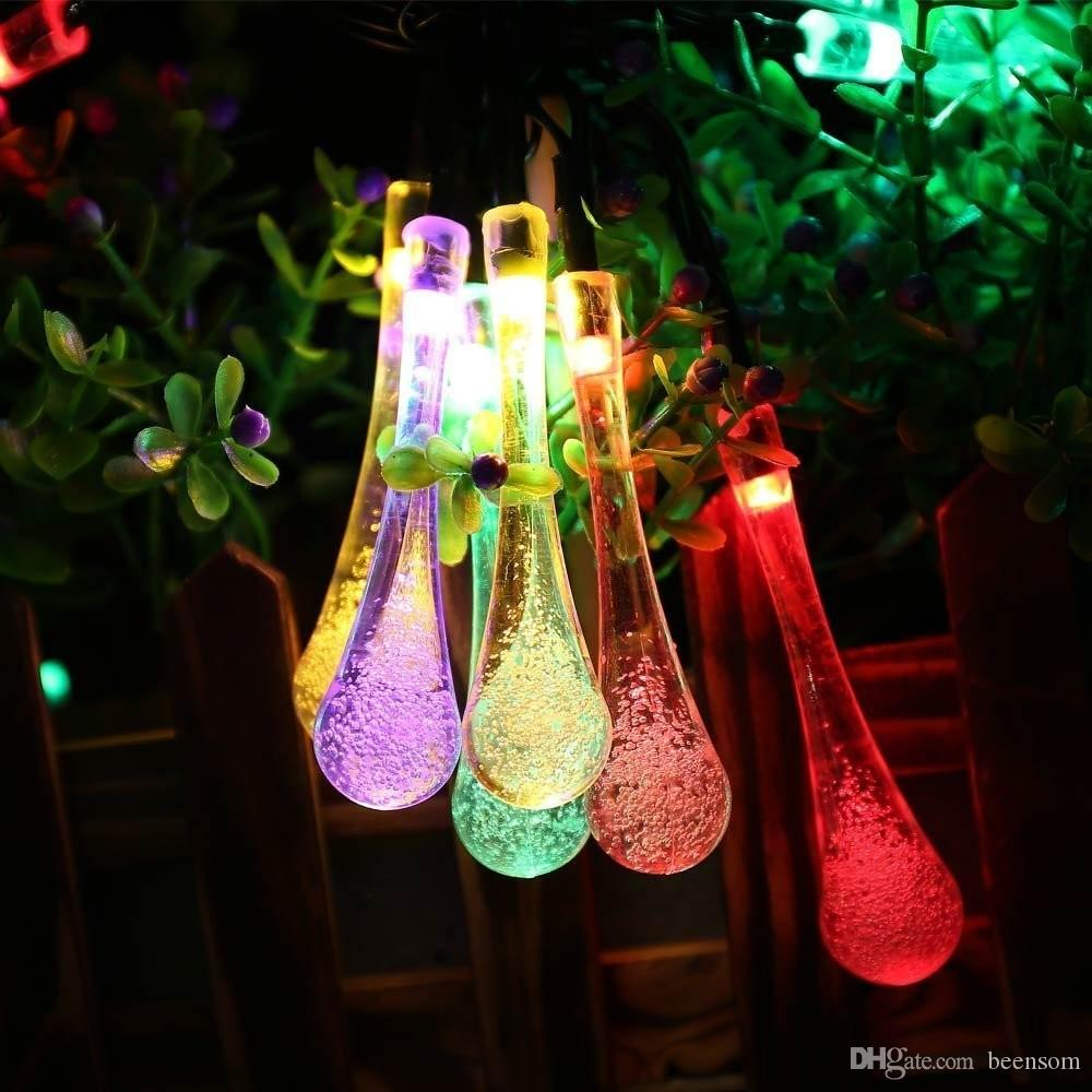 7M 20LEDs Solar String Light Colorful Holiday Light Drop Waterproof Christmas Holiday Lighting Outdoor Garden Decoration Fairy Lamps