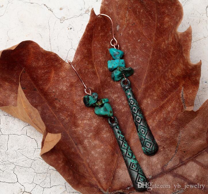 Diseño original de las mujeres pátina larga cuelga los pendientes pendientes etick textura productos de comercio exterior precio al por mayor envío gratuito