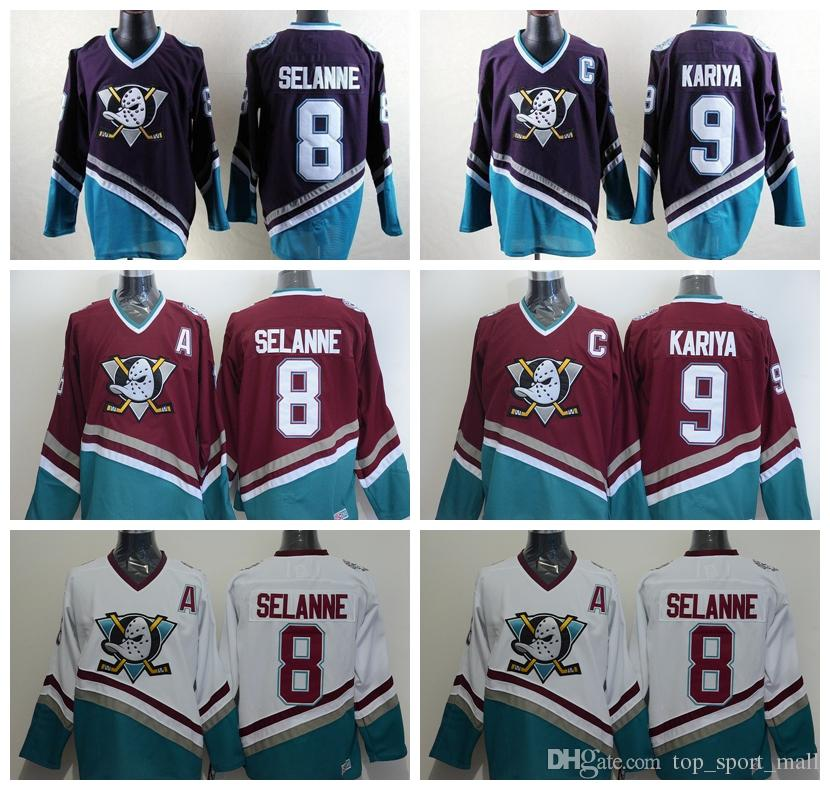 a1df8874829e6 Compre Anaheim Ducks Camisetas De Hockey 8 Teemu Selanne 9 Paul Kariya  Retro Jersey Mighty Ducks Película Verde 1993 Púrpura 96 Charlie Conway A   22.24 ...