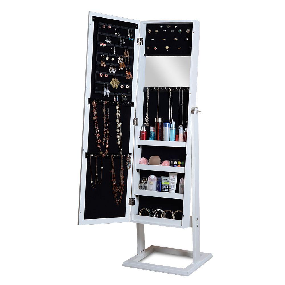 Attirant White Wood Mirror Jewelry Armoire Cabinet Display Jewelry Storage Organizer  Wall Mounted Or Free Standing Mirror Jewelry Cabinet Wood Jewelry Display  Wood ...