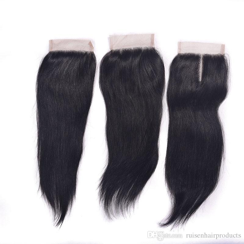 Malaysian 6A Grade Straight Closure Hair Bundles With Lace Closure Natural Color Malaysian Weaves Extensions Dyeable Straight Hair