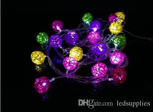 4 м 20 LED ротанг мяч фонарь сепак takraw строка Фея свет гирлянды для Новый Год Рождество праздник партии Decoration110V-240V