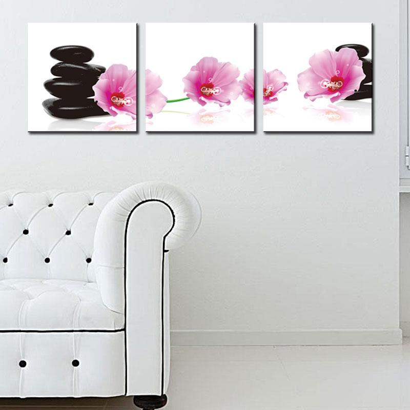 Paintings Wall Art Moist Spa Stone Tower and Pink Flower Picture Print on Canvas for Modern Home Decoration