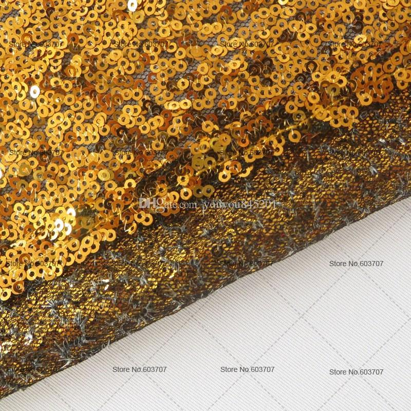 2016 Custom Made A 30cm * 275cm long mariage Chemins de table d'or sequin Tissu de mariage en perles