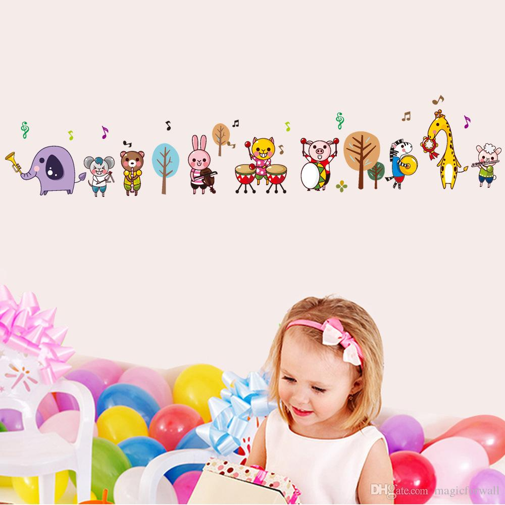 Cartoon Animals Music Band Wall Stickers for Kids Boys Girls Room Nursery Tree Music Note Wall Applique DIY Home Decor Wallpaper Art