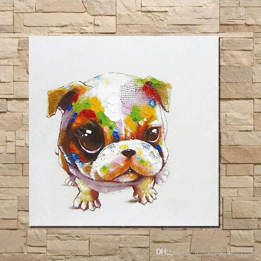 Pinturas de Arte barato Precioso Perro de la Mascota Cuadros de la Pared Abstracta Moderna Lona Arte de la Pared Sala de estar Decoración Imagen Pintado A Mano de Pintura Al óleo
