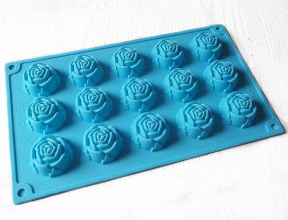 15 Flor de rosa Pastel de chocolate Molde Flexible Jabón de silicona Para Jabón hecho a mano Velas Dulces para hornear moldes para hornear utensilios de cocina moldes para hielo